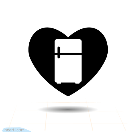 Heart vector black icon, Love symbol - fridge in heart. Valentines day sign, emblem, Flat style for graphic and web design Vettoriali