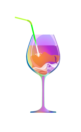 The girl drinks through a straw from a violet glass of wine or a liqueur. Cartoon character and drink isolated of white background. Vector illustration. Cocktail Party. Lady have fun. Çizim