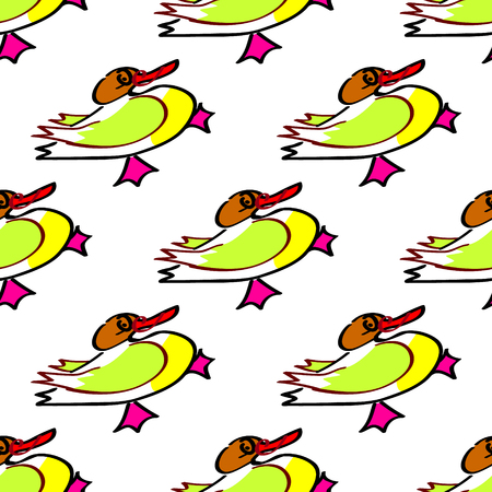 Seamless duck vector pattern with bright yellow image. For baby albums, cards, invitations, wedding, backgrounds and scrapbooks. Illustration