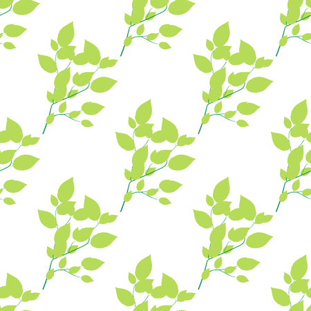 Seamless green Branch, Isolated On White Background, Vector Illustration.