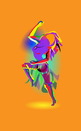 Multicolored abstraction with a dancing girl, colorful woman dancing. Vector orange background. Stock Vector - 104581765
