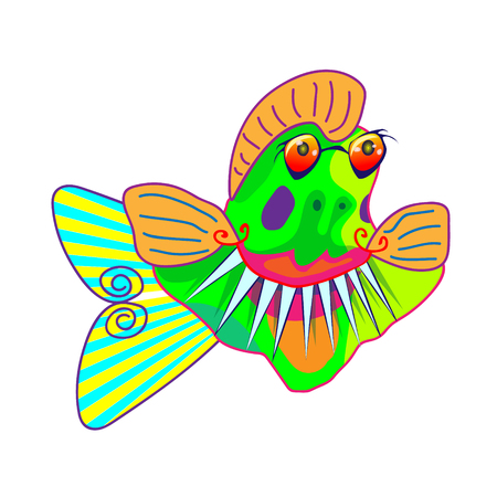 Cartoon funny piranha, pacu fish illustration vector. Symbol aggressive isolate on white background. Design element for poster, t shirt, banner, emblem. Illustration