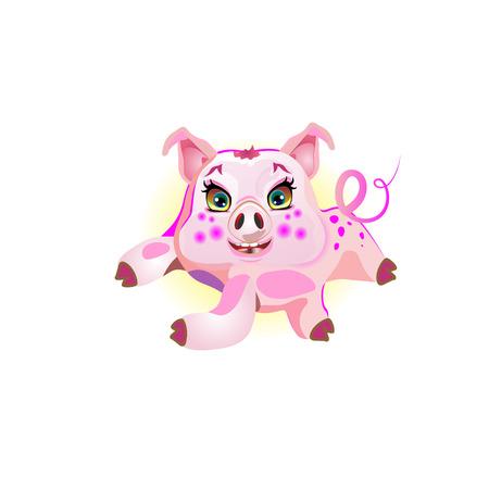 Cute pig lying, illustration cheerful. Funny vector