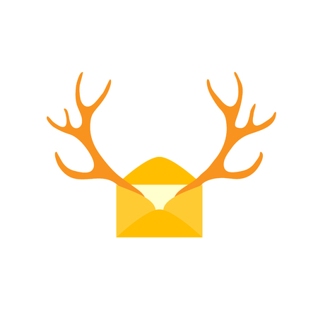 Christmas, new year mail of flat icon, deer antlers logo. Vector illustration Mail or E-mail isolated. 写真素材 - 105831614