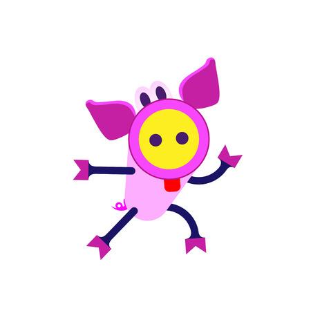 Schattige varkentje cartoon vluchten. Chinees sterrenbeeld, gelukkig Nieuwjaar 2019 jaar van het varken. Vector Illustratie