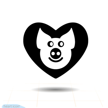 Cute piggy in heart vector black icon, Love symbol. Valentines day sign, emblem, Flat style cartoon. Chinese Zodiac Sign, Happy New Year 2019 year of the pig.