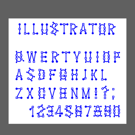 Vector of Modern Alphabet Letters and numbers, Lines stylized simulates the operation of the program s graphical editor, Minimal Letters set for fonts, Normal font English. Ilustração