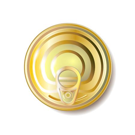 Boîte de conserve en or, jaune avec tirette, vue de dessus. Illustration vectorielle. Objet d'emballage.