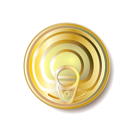 Gold, yellow tin can with ring pull, top view. Vector illustration. Packaging object.