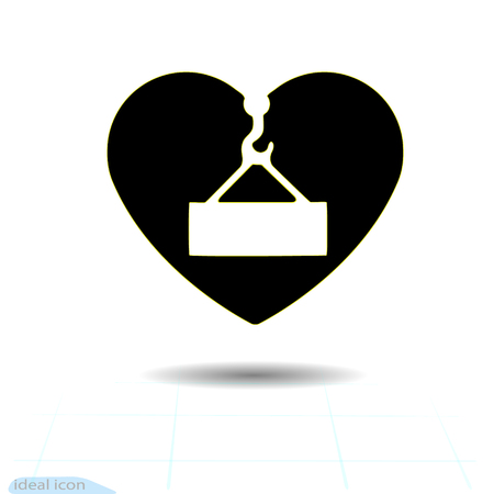Heart vector black icon, Love symbol. Danger overhead load sign in heart. Valentines day sign, emblem, Flat style for graphic and web design, logo