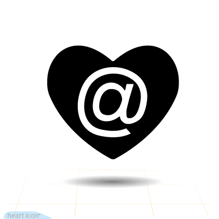 Heart vector black icon, Love symbol. Mail in heart. Valentines day sign, emblem, Flat style for graphic and web design, logo, app, UI. Vector illustration EPS10.