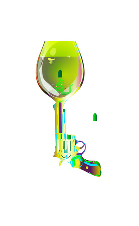 Shot drink. Revolver sketch goblet absinthe liqueur. Printing on T-shirts and other items. Vector illustration isolated. Cocktail Party.