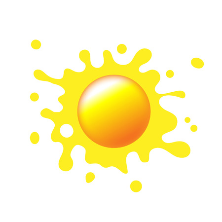 Sun icon with rays out of blot. Sign or logo design with yellow cute sun. Aggregated vector illustration.