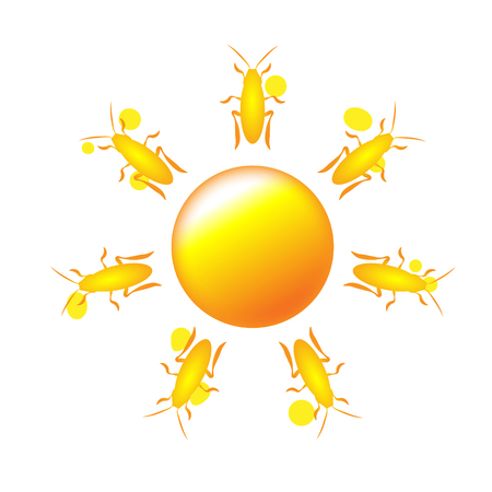 Sun icon with rays out of cute cockroach or beetle contour. Sign or logo design yellow. Aggregated vector illustration
