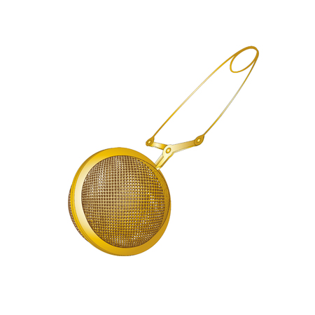 Realistic Tea strainers. Gold object isolated, Vector illustration