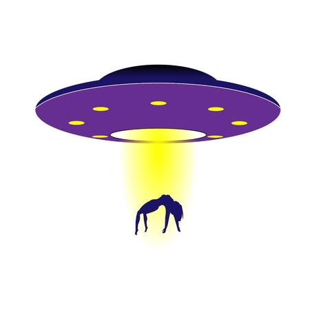 Shameless purple UFO steals a girl. Vector illustration.