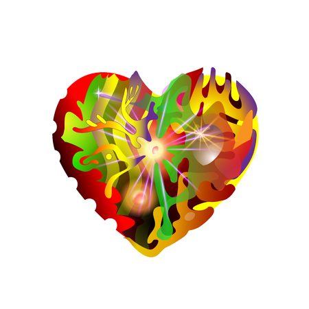 Abstraction heart smoldering night fire with red coals. Design elements for Valentines Day. Vector graphic illustration.