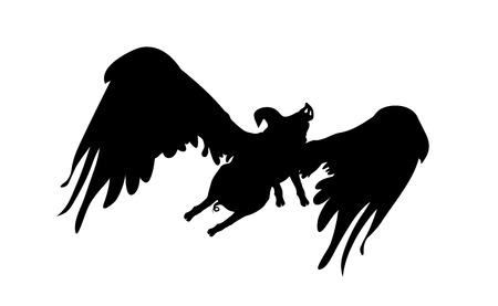 Silhouette funny piggy with wings flying, pig pattern, black and white vector illustration.
