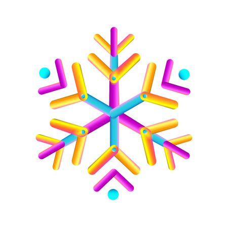 Oval strips geometric snowflake icon. Trendy gradient shapes composition. Illustration