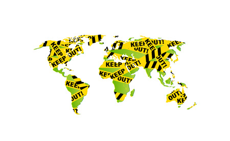 World map decorated - Keep out police yellow ribbon, warning signs. Police tape, police ribbon variation. Caution text. Vector illustration, assembled from triangles. Vector illustration.