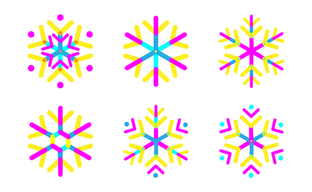 Oval strips geometric snowflake set icon. Trendy shapes composition. New year winter Icon