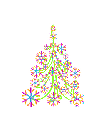 Christmas tree from beautiful geometric snowflake pattern for greeting card Happy New Year Christmas. Handmade Illustration