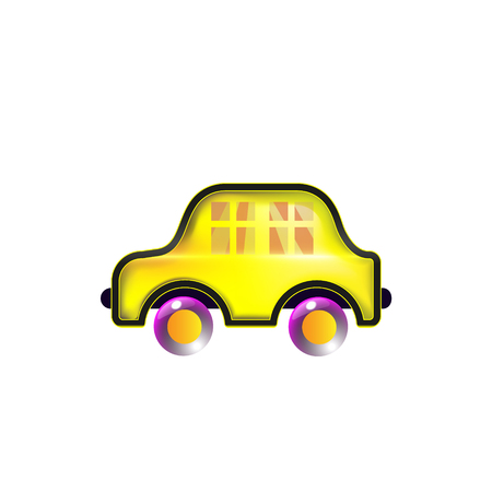 House car, yellow toy icon. Color in style Funny Vector. Bright for baby. Cartoon innovation.
