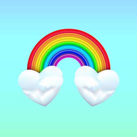 Two heart clouds with rainbow on blue background. Very cool is when we actually combined the two hearts together, the combination, the blend, is more potent love sign than either alone. Cartoon.