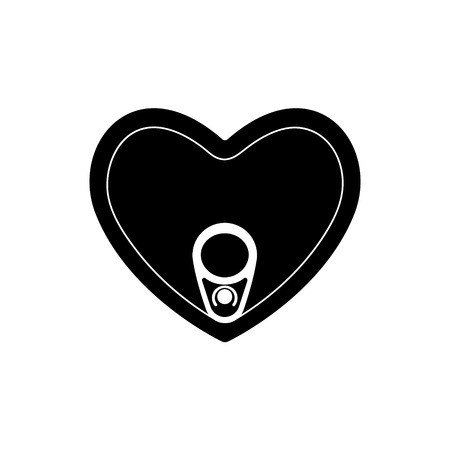 Tin can black heart with ring pull, top view. Valentines Day with vector illustration for designers packaging perfect symbol that represent love and deep emo. Ilustração