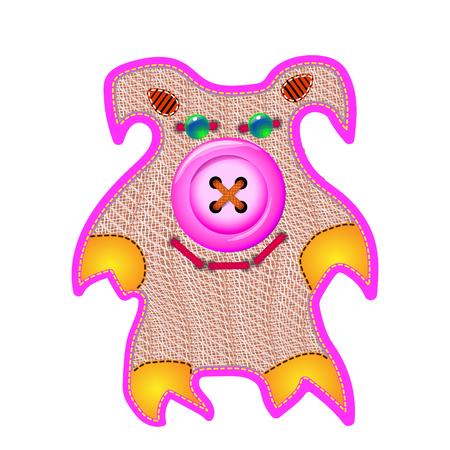 Cloth doll pig pink toy. Handmade work