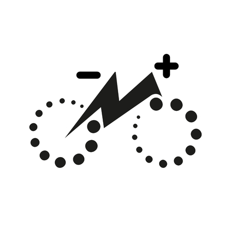 Isolated electric city bike symbol icon. Trekking e-bike line silhouette with electricity flash lighting thunderbolt sign. Designation of Parking Charge the battery. Ilustrace