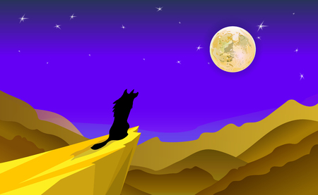 Cartoon background Illustration Featuring the Silhouette of a Howling Wolf. Desert landscape of mountains and dunes. Vector moonlight.