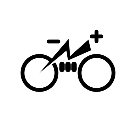 Isolated electric city bike symbol icon. Trekking e-bike line silhouette with electricity flash lighting thunderbolt sign. Designation of Parking Charge the battery. Illustration