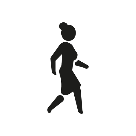 Woman icon walk. Lady black symbol. Vector illustration girl go.