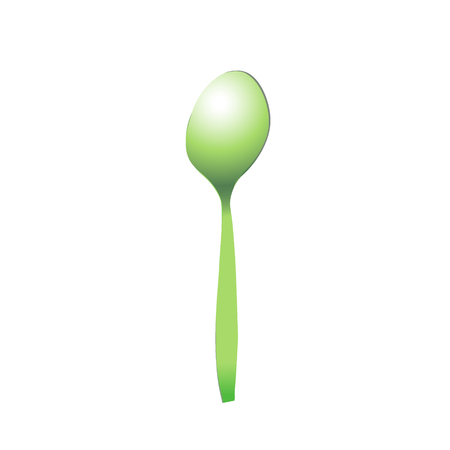 Spoon green plastic realistic for food, light shades of green and greenish. Lying upside down. Isolated vector illustration.