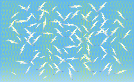 A flock of birds feeding on vector, silhouettes of flying seagulls, set of isolated soaring birds. Geometric texture. Ilustração