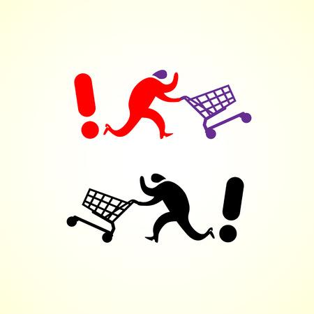 Running man pushing shopping cart icon. Vector shopping illustration. Illustration
