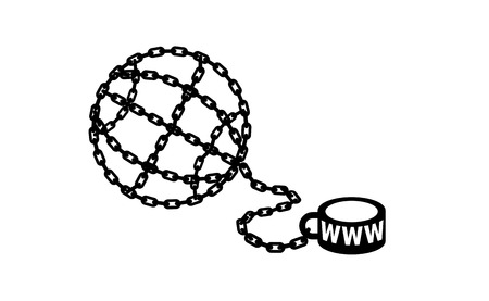 Modern metaphor, phone internet and social networks addiction icon. Stylish vector concept illustration isolated on light background. Globe chained and shackled. Addicted to social networking.