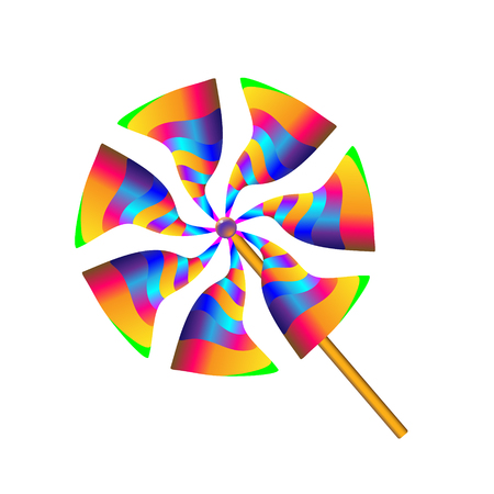 Gradient multicolored toy paper windmill propeller. Pinwheel with blades of different colors. Vector illustration.
