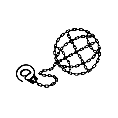Globe chained and shackled. Modern metaphor, phone internet and social networks addiction icon. Stylish vector concept illustration isolated. Addicted to social networking flat style. Handcuff email alias.