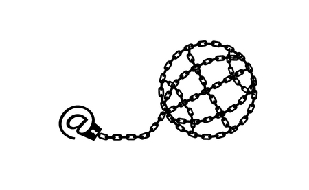 Globe chained and shackled. Modern metaphor, phone internet and social networks addiction icon. Stylish vector concept illustration isolated. Addicted to social networking. Handcuff email alias.