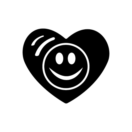Symbol of love. Valentines day. Smiley face icon, emoji in heart. Flat style vector for websites blogs graphic design.