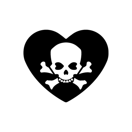 Heart icon. A symbol of love. Valentine s day with the sign of the Human skull and crossbones.