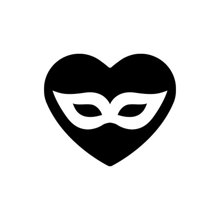 Heart black icon, Love symbol. White carnival mask in heart. Valentines day sign, emblem, Flat style for graphic and web design.