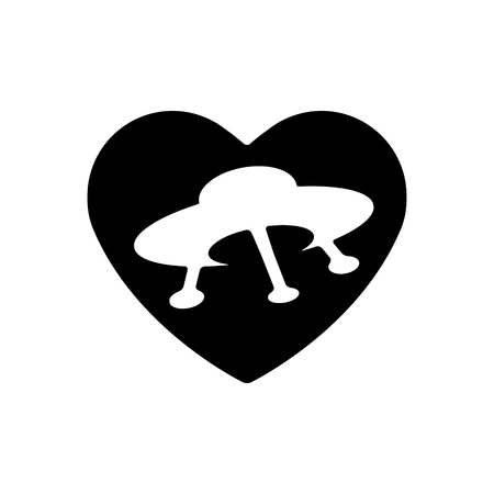 Heart vector black icon, Love symbol. UFO in heart. Valentines day sign, emblem, Flat style for graphic and web design.