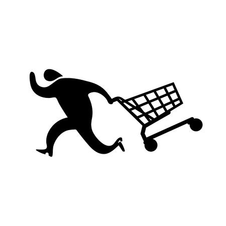 Running man drag shopping cart icon. Vector shopping illustration.