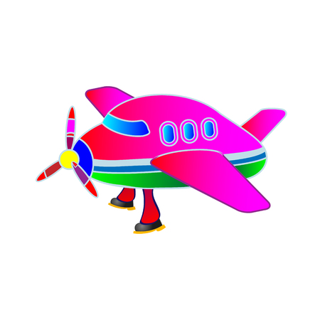 Childrens application, illustration the pink plane. Toy and mock up.