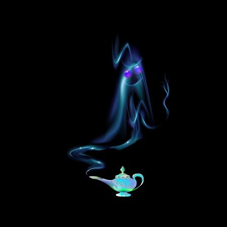 Lámpara mágica azul turquesa y silueta de un genio árabe sobre fondo negro. Cuento. Ilustración de vector de dibujos animados color azul claro. Tres deseos de la cultura oriental, leyenda árabe. Ilustración de vector