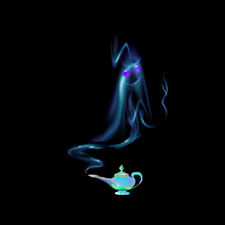 Azure, turquoise magic lamp and silhouette of an Arabic genie on background black. Tale. Cartoon vector illustration light blue color. Three wishes east culture, arabian legend.