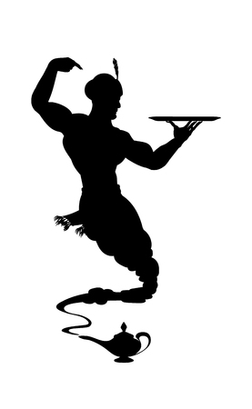 Silhouette helpful genie from Arabic lamp. Detailed contour black. Illustration
